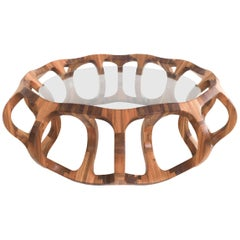 """Toro G10"" Contemporary Geometric Coffee Table Handcrafted in Tzalam Hardwood"