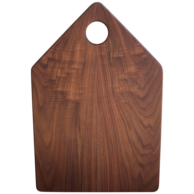 Geometric Walnut Serving and Cutting Board with Circular Handle