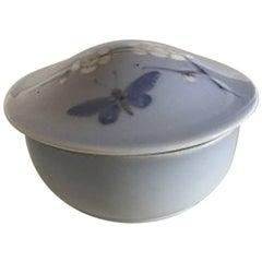 Royal Copenhagen Art Nouveau Lidded Bowl with Flower and Butterfly Motif #1