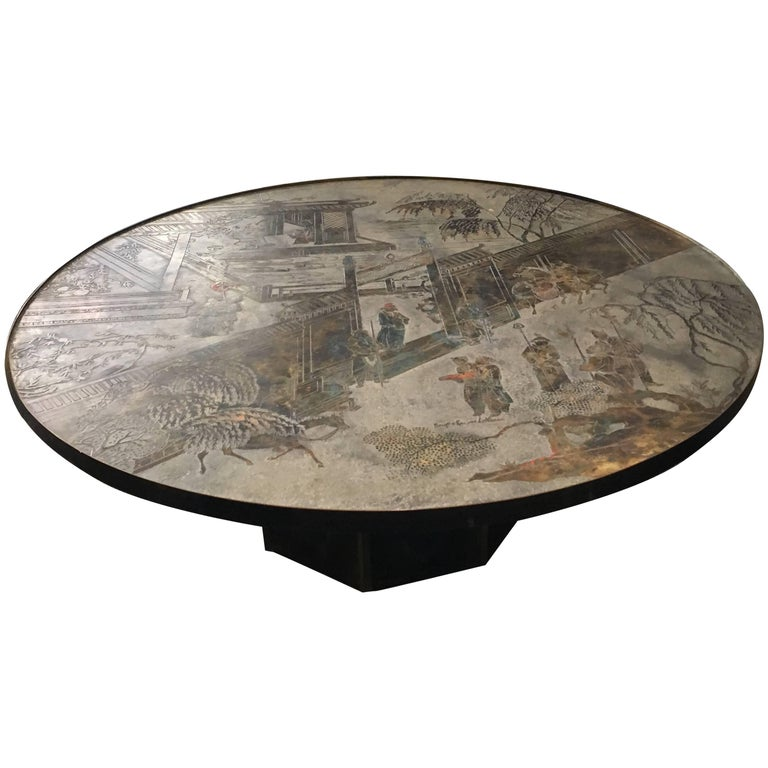 Large Round Coffee Table by Philip and Kelvin LaVerne For Sale