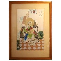Rare Chinese Western Religion Watercolor and Gouache on Silk