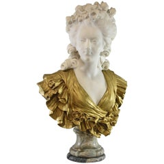19th Century French Gilt Bronze and Marble Female Figural Bust