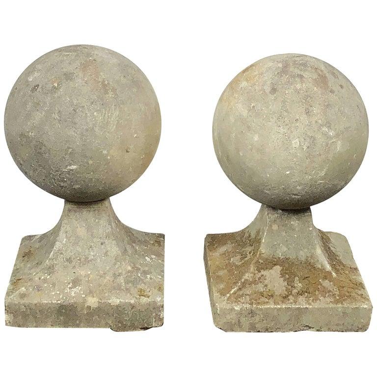 Pair of English Garden Stone Coping Balls