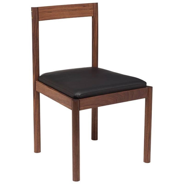 Dark Walnut And Black Leather Dining Chair The Henry