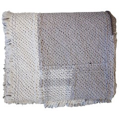 Brown and Natural Raw Chindi Cotton Patchwork Quilt with Diagonal Stitching