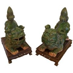 Monumental in Scale Fabulous Green Terracotta Foo Dogs on Stands