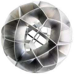 Contemporary Mexican Geometric Stainless Steel Trapezoidal Sphere Sculpture