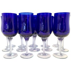 "20th Century Cobalt ""Coronation"" Cut Crystal Stem Glasses, Set of 14"