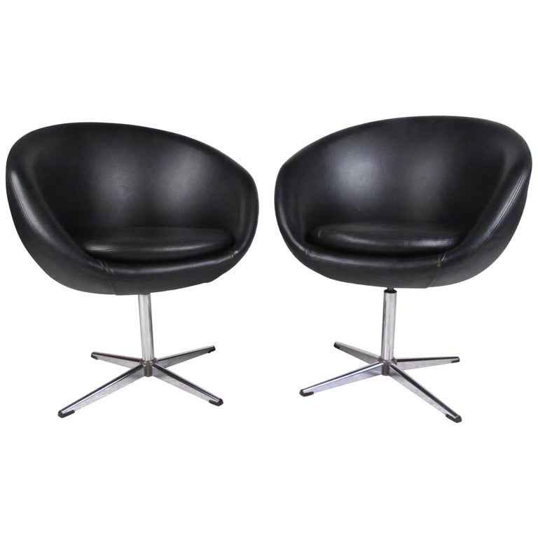 Pair of Swivel Polo Club Chairs in Black Vinyl by Overman