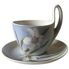 Royal Copenhagen Art Nouveau Small High Handled Cup and Saucer No. 81/4