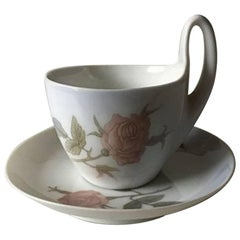 Royal Copenhagen Art Nouveau Small High Handled Cup and Saucer. No. 689/4