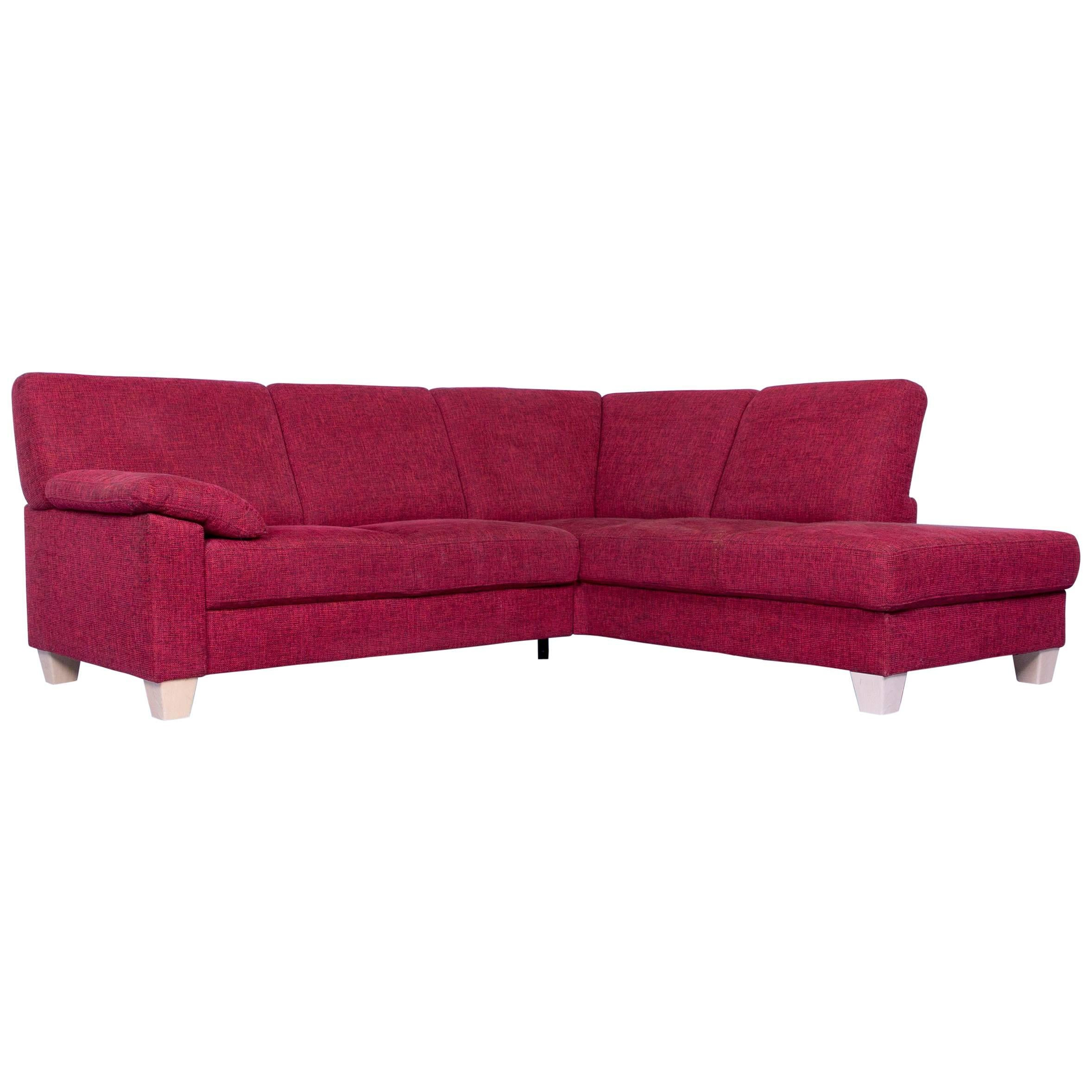 Ewald Schillig Designer Corner Sofa Fabric Red Couch Modern Wood