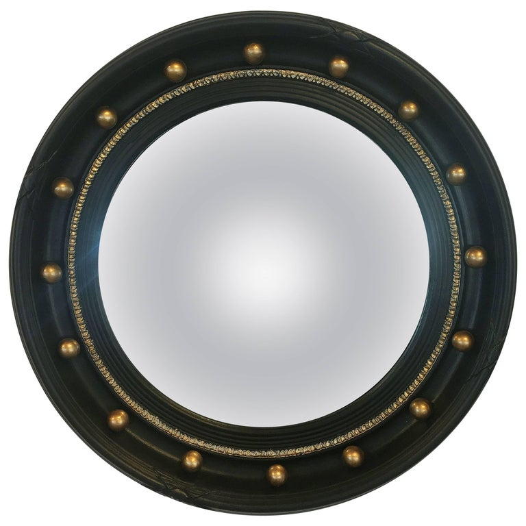 English Round Ebony Black and Gold Framed Convex Mirror (Diameter 17 1/4)