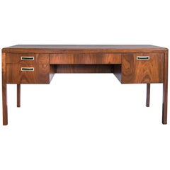 Midcentury Walnut Parsons Style Desk or Vanity with Brass Hardware