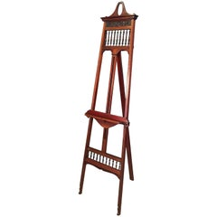 English Artist's Gallery Display or Studio Easel of Turned Mahogany