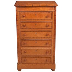 Faux Bamboo Wellington Collector's Cabinet or Chest of Drawers of Curly Maple