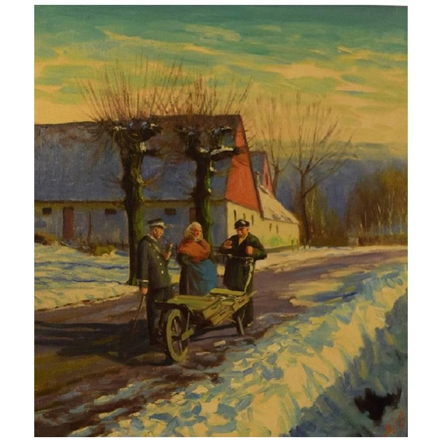S. C. Bjulf Winter Idyll with People, Oil on Canvas