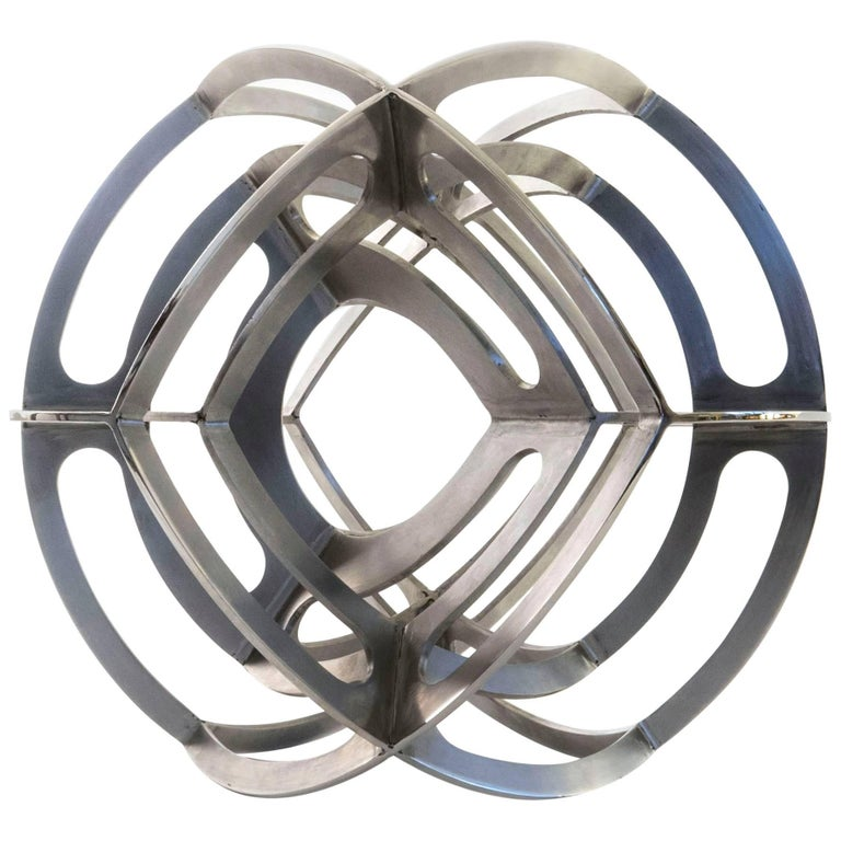Contemporary Mexican Geometric Dual Tetrahedron Sphere Stainless Steel Sculpture
