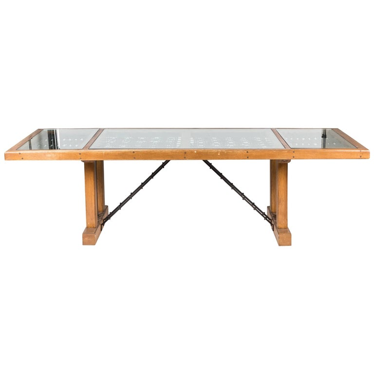 Glass Dining Table For Sale: Mexican Glass And Iron Dining Table For Sale At 1stdibs