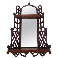 Pretty Mahogany & Aged Mirror Wall Shelf Bracket