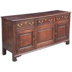 Welsh Paneled Dresser Console or Sideboard of Oak from the 18th c.