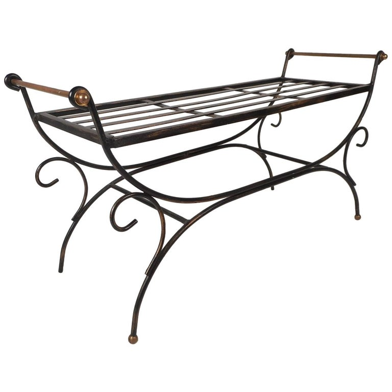 Vintage Wrought Iron Bench