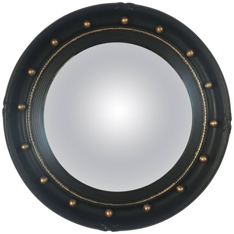 English Round Ebony Black and Gold Framed Convex Mirror (Diameter 16 1/2)