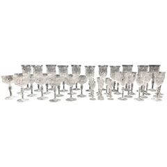 Exceptional Quality Cut Glass Stemware Set, 42 pcs