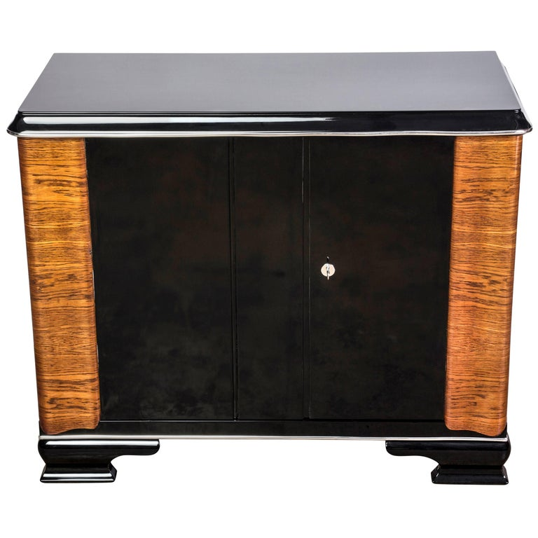 deco style parchment and chrome glass top commode chest for sale at 1stdibs. Black Bedroom Furniture Sets. Home Design Ideas