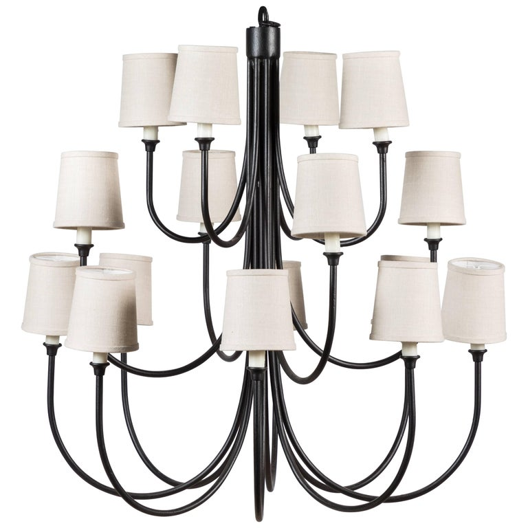 Custom Wrought Iron Chandelier with 16 Lights For Sale