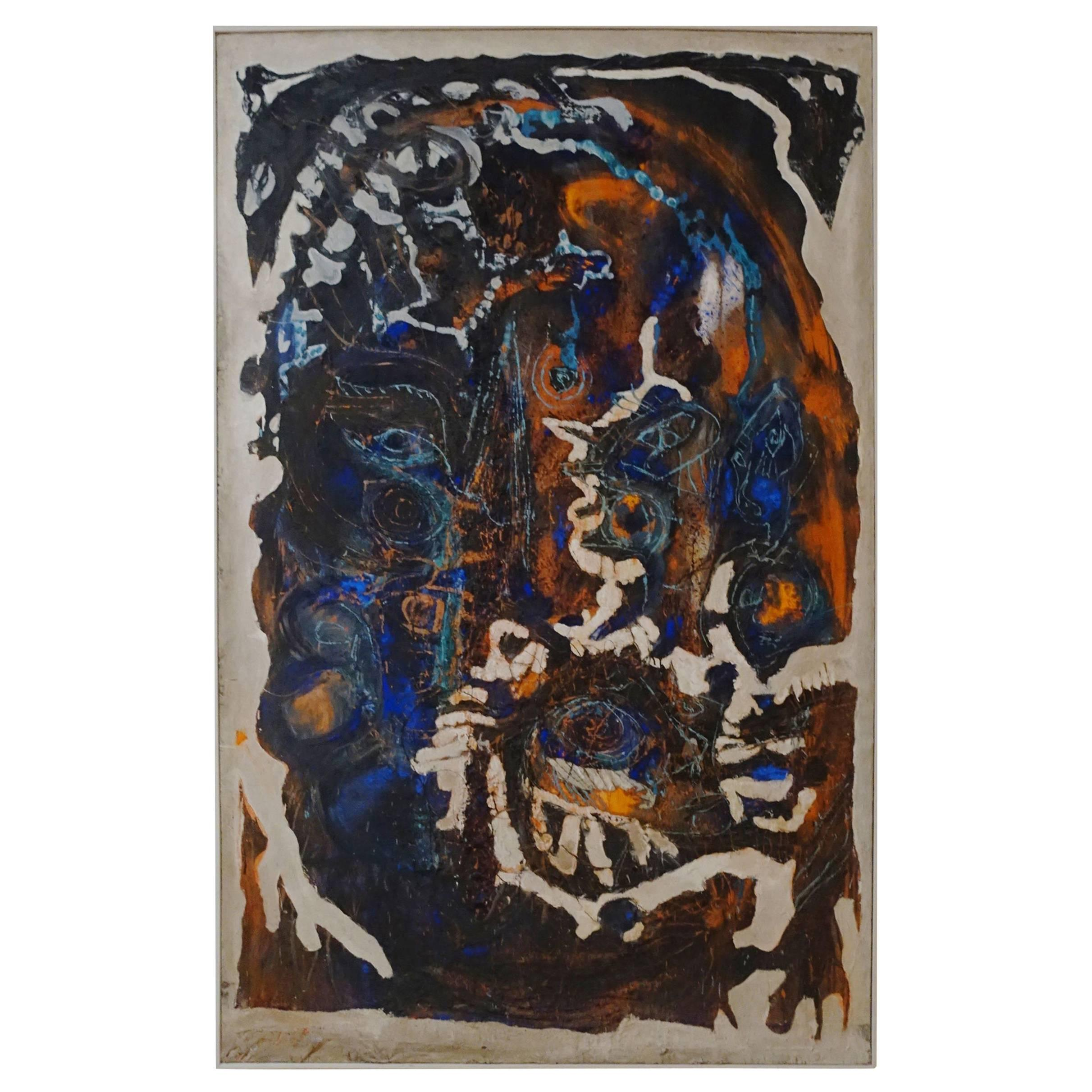 Blue, Brown, Orange Extra Large Painting By French Artist Jean Pierre Neveu