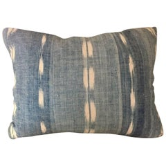 Mid-19th Century French Homespun Indigo Dyed Ikat Decorative Cushion, Pillow #1