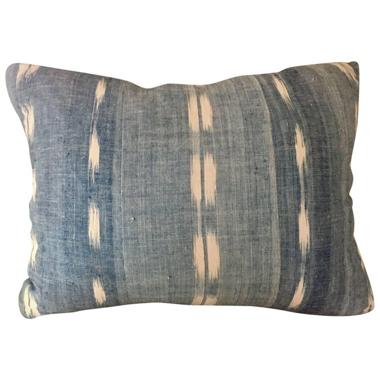 Mid-19th Century French Homespun Indigo Dyed Ikat Decorative Cushion, Pillow #1 For Sale