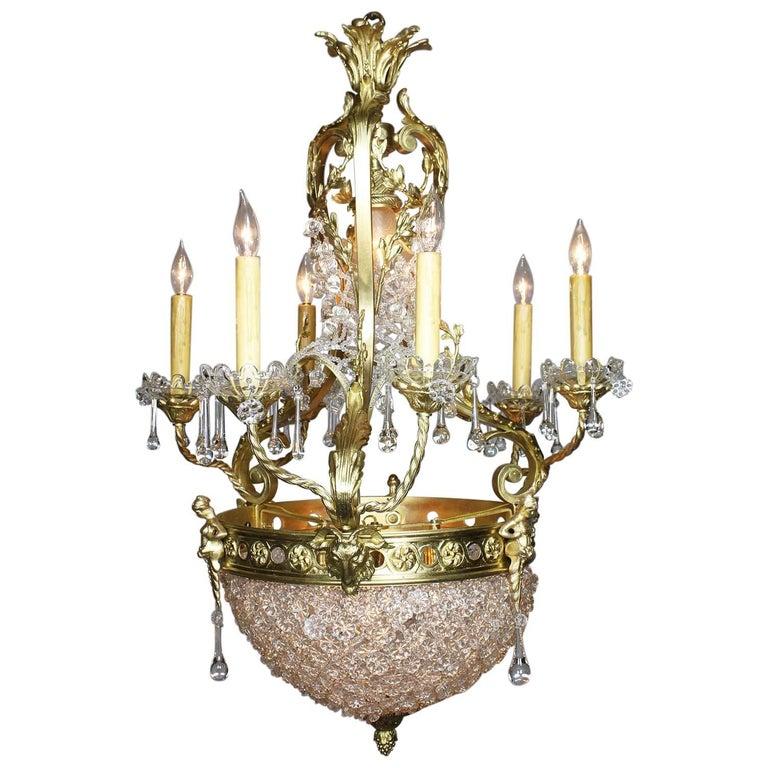 French Belle Époque Gilt Bronze and Cut-Glass Six-Arm Figural Basket Chandelier