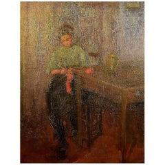 Fritz von Uhde Style circa 1900, Interior with a Knitting Girl