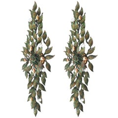Pair of Large European Bronze Leaf Sconces