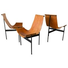Leather and Iron Sling Chairs by William Katavolos for Laverne, Intl circa 1960