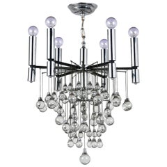 Mid-Century Modern Chrome & Crystal Chandelier