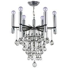 Circa 1960's Mid-Century Modern Crystal Chandelier