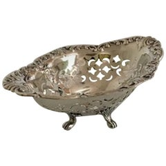 Birks Pierced Silver Bowl on Feet