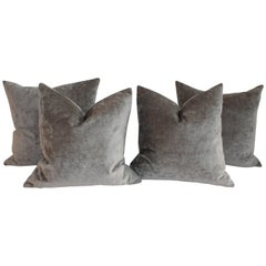 Velvet Lux Silk Olive Green Pillows, Pair
