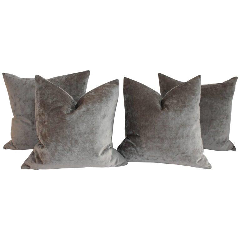 Velvet Lux Silk Olive Green Pillows, Pair For Sale