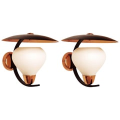 Pair of Large Vintage Mid-Century Wall Lights Sconces, 1950s