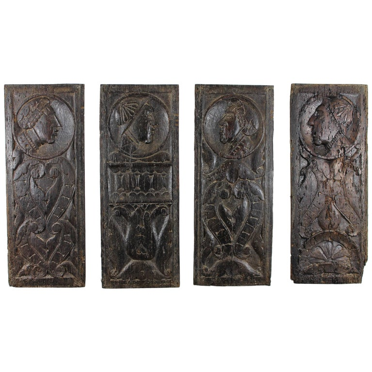 Renaissance Period Set of 16th Century Panels Depicting Men-at-Arms