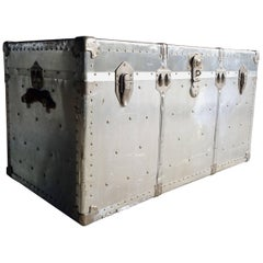 Vintage Zinc Industrial Travel Trunk Chest