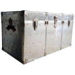 Vintage Zinc Industrial Travel Trunk Chest