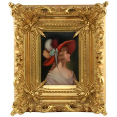 19th Century Hand-Painted KPM Porcelain Portrait Plaque in Giltwood Frame