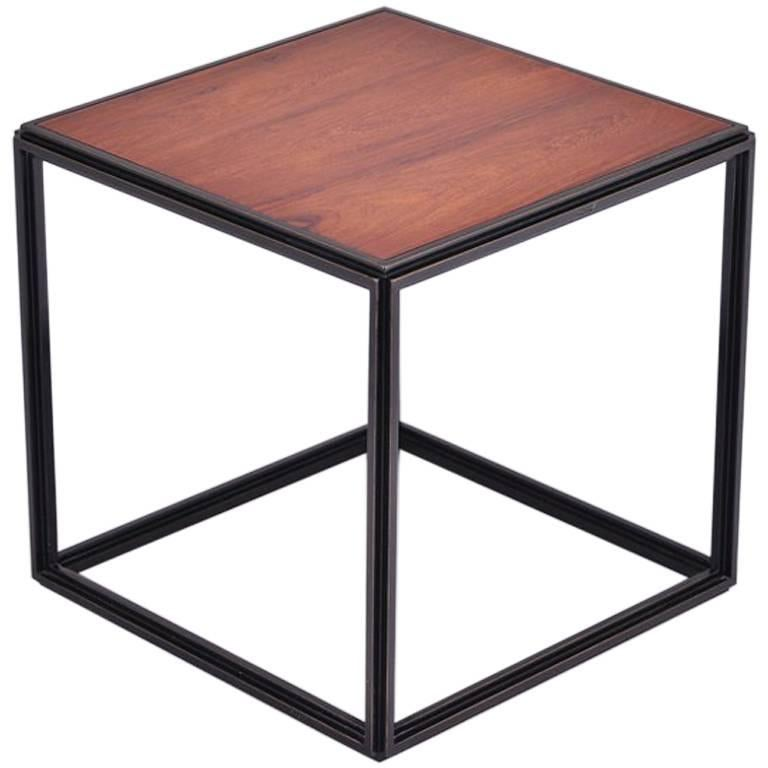 Wood and Natural Brass Occasional Handmade Table by P.Tendercool  For Sale