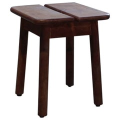 Vintage Wood Stool with Separate Seat from France