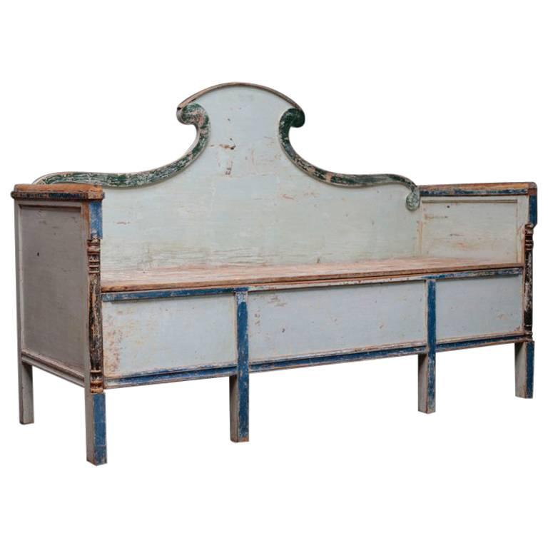 Swedish Gustavian Bench with Blue Painted For Sale